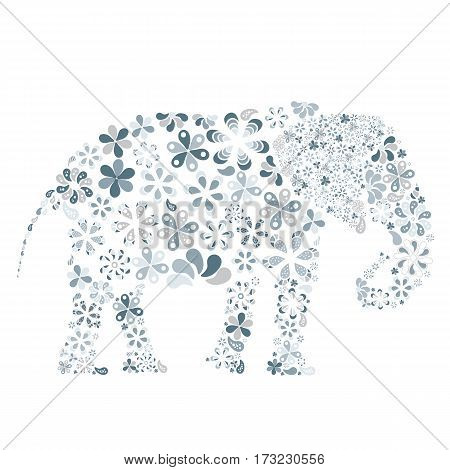 Concept of lots of flowers in the shape of aelephant white background.