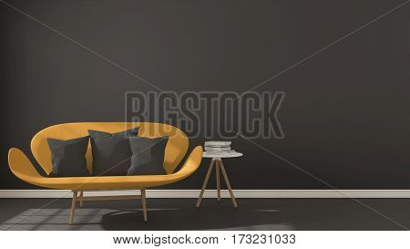 Scandinavian Minimalistic Dark Background, With Orange Sofa On Herringbone Natural Parquet Flooring,