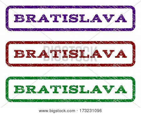 Bratislava watermark stamp. Text caption inside rounded rectangle with grunge design style. Vector variants are indigo blue red green ink colors. Rubber seal stamp with dust texture.