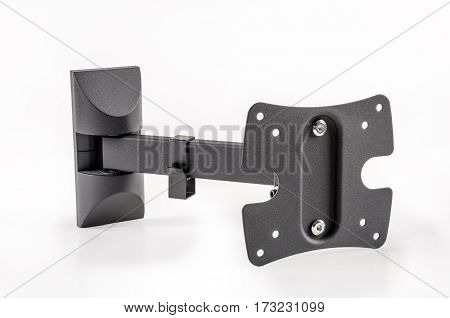 Black bracket for TV on a white background isolation