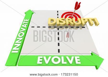Innovate Evolve Disrupt Matrix New Ideas Words 3d Illustration