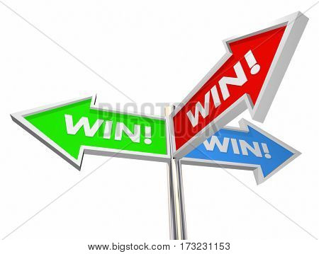 Win Mutual Benefit Signs 3 Way Common Goal 3d Illustration