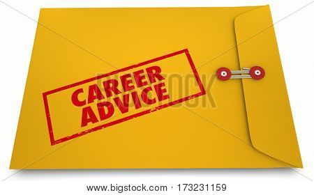 Career Advice Job Information Yellow Envelope 3d Illustration