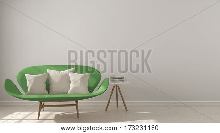 Scandinavian Minimalistic Background, With Green Sofa On Herringbone Natural Parquet Flooring, Inter