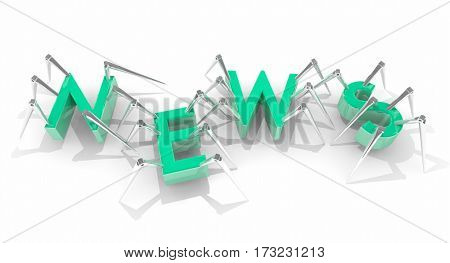 News Report Tech Announcement Update Spiders 3d Illustration