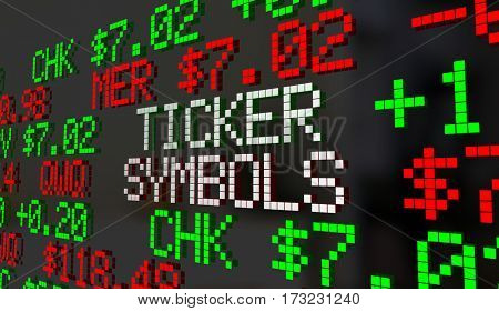 Ticker Symbols Companies Prices Stock Market Listings 3d Illustration