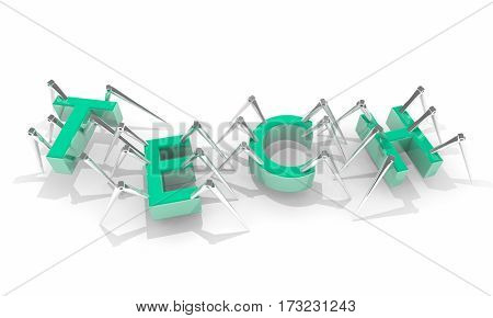 Tech Word Letters Technology New Modern Science 3d Illustration
