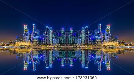Singapore city skyline and view of skyscrapers around Marina Bay at night