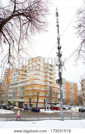 Moscow Russia February 17 2017: urban lighting mast equipment.