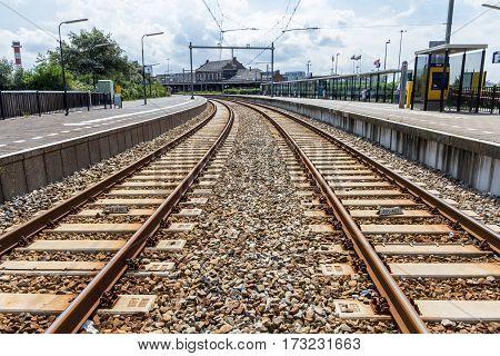 Hoek van Holland the Netherlands - August 08 2016: train tracks leading to Hoek van Holland train station