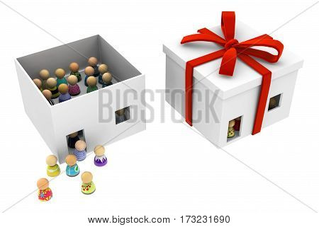 Crowd of small symbolic figures inside gift box 3d illustration horizontal