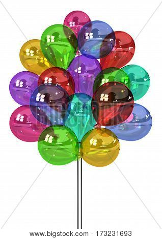 Color party balloon bunch inflated 3d illustration vertical