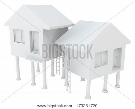 Small white house pair abstract 3d illustration