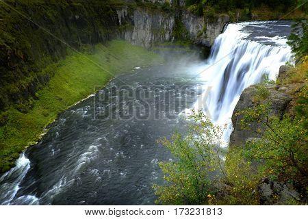 Mesa Falls waterfalls in Idaho canyon gorge water wilderness
