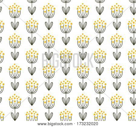 vector seamless pattern with hand drawn floral elemnts on white background