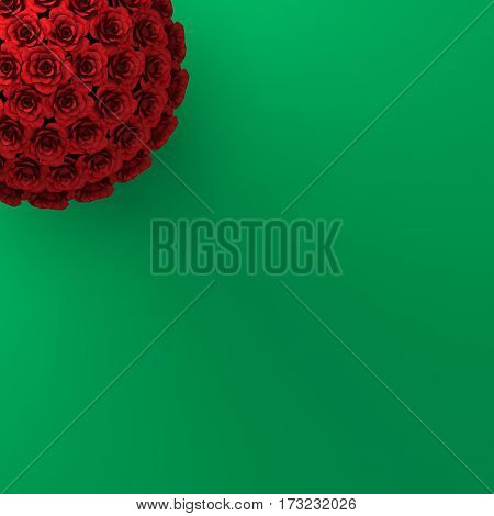 TOP VIEW OF ROSES ON PLAIN GREEN BACKGROUND