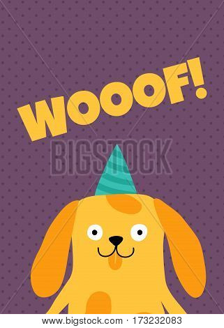 vector template of a greeting card with a dog and woof text