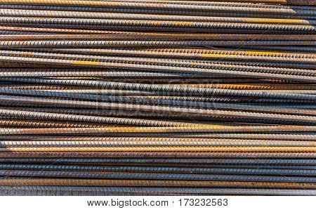 Steel rods bars can used for reinforce concrete steel texture for background