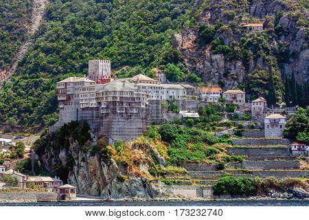 Scenic view of Dionysiou monastery on Mount Athos, Greece