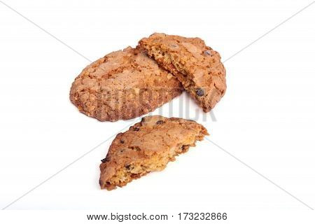 Delicious pastry cookies isolated on white background.