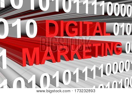 digital marketing is presented in the form of binary code 3d illustration
