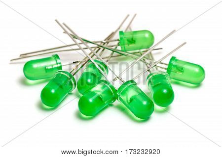 Green LED diodes on a white background