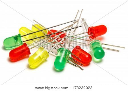 Set of red yellow and green LED diodes on a white background