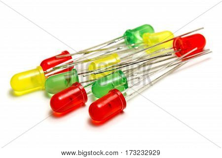 Red green and yellow LED diodes on a white background