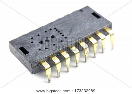 Integrated circuit closeup on a white background