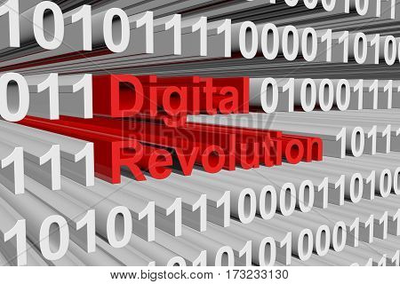 digital revolution presents in the form of binary code 3d illustration