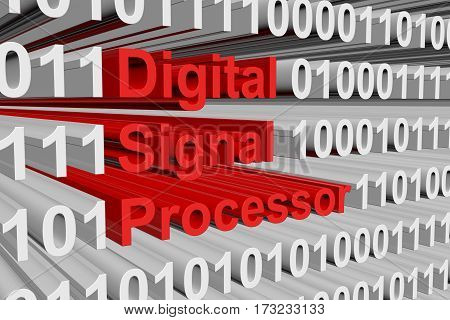 digital signal processor is presented in the form of binary code 3d illustration