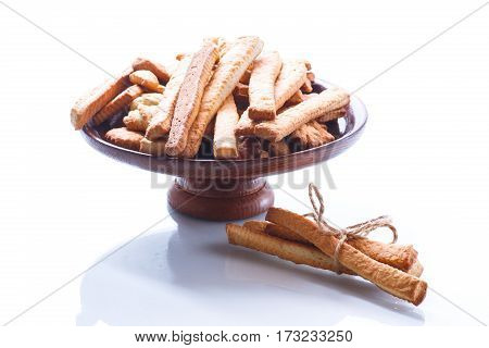 sweet homemade cookies on a white background