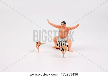 Figure Of Sumo Wrestler With Small Tiny