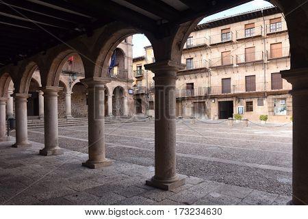 Main square and town hall in Siguenza Guadalajara province Castilla La Mancha Spain