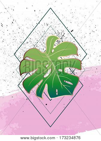 Abstract creative poster. Geometric shapes and monstera leaf. In the style of art Deco and Memphis. Bronze outlines on pink stroke and texture spray ink. Vector. Design template brochure or cover.