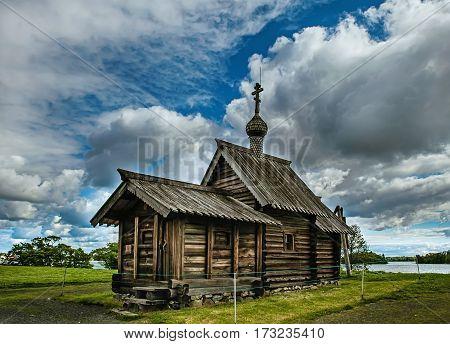 Wooden Orthodox chapel on Kizhi island Russia Karelia