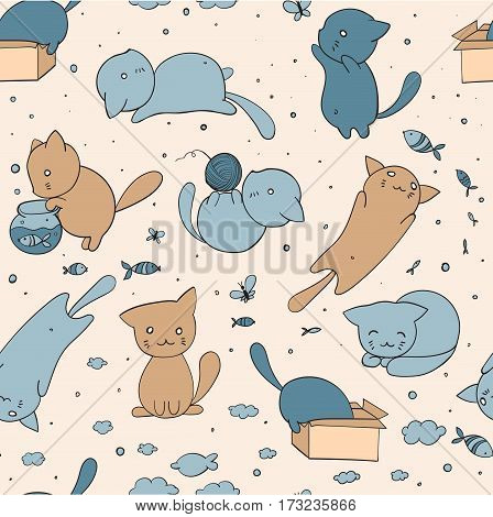 seamless pattern with cute cats in different situations