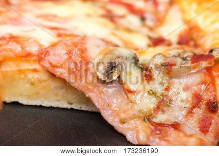 Closeup Macro View Pizza Slice Melted Cheese