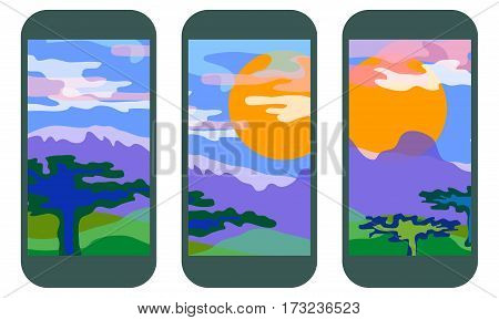 Set of panoramic landscape patters for mobile smart phones. Savanna with mountains, sun and cloudy sky.