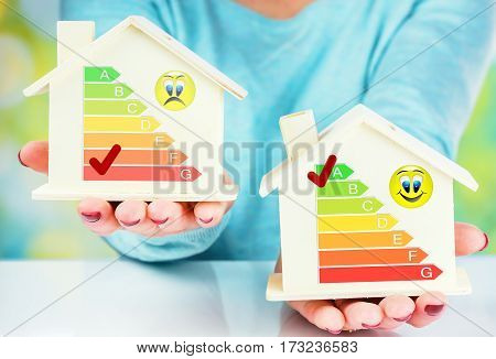 Concept Comparison Between Normal House And Low Consumption House With Energy Efficiency Rating