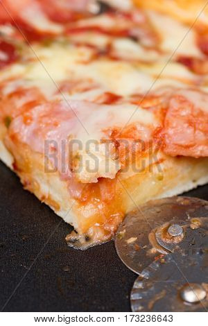 Closeup Macro View Pizza Ketchup Ham Cheese