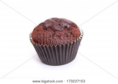 Delicious cupcake with chocolate isolated on white background.