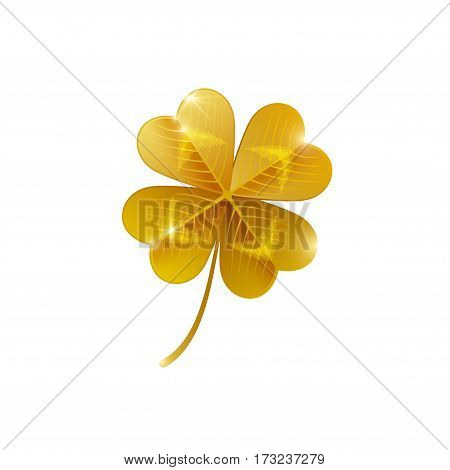 Gold shiny four leaf clover isolated on white. Vector illustration. Saint Patrick's Day concept icon. Lucky and success symbol, leprechaun treasure.