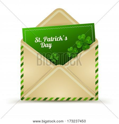 Saint Patrick's Day Envelope with Green Clovers and Letter Invitation Isolated on White Background. Vector Illustration. Realistic Craft Paper Mail Envelope. Luck Inside, Success Concept.