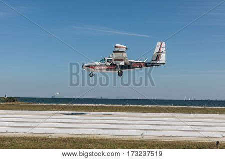ST. PETERSBURG USA - FEBR 16 2017: A seaplane lands on the runway. Plane Lake.