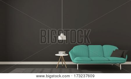 Scandinavian Minimalistic Dark Background, With Turquoise Sofa On Herringbone Natural Parquet Floori