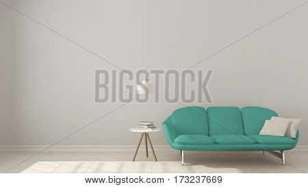 Scandinavian Minimalistic Background, With Turquoise Sofa On Herringbone Natural Parquet Flooring, I