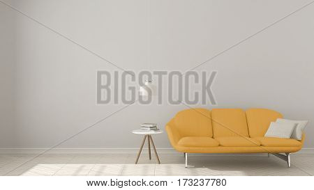 Scandinavian Minimalistic Background, With Yellow Sofa On Herringbone Natural Parquet Flooring, Inte