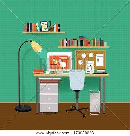 Flat interior room template of designer workspace with stationery furniture equipment and green gingham wallpaper vector illustration