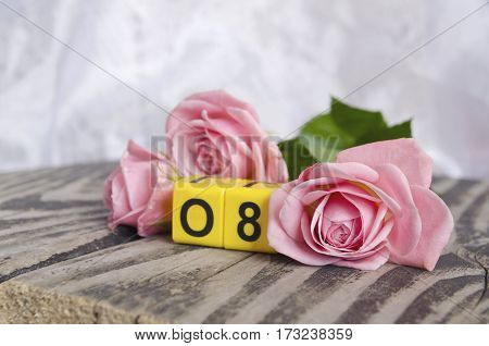 8 March symbol and roses. Figure of eight on cubes with roses on wooden background. Happy woman's day design. Can be used as a greeting card for international Woman's Day on 8 March.